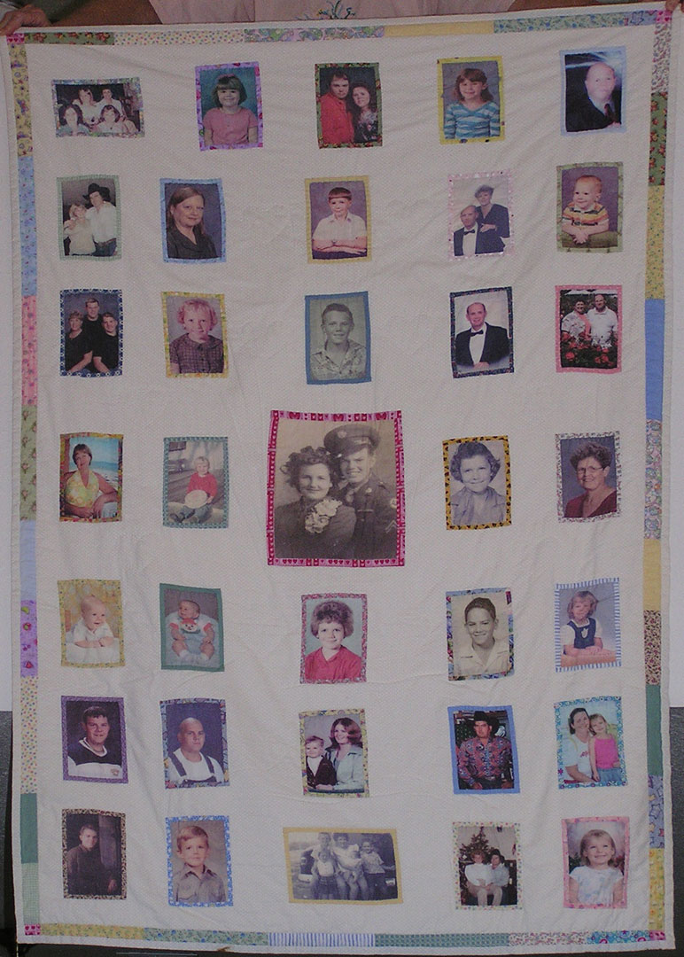 [Family Memory Quilt made with VV Prints inkjet cotton fabric sheets]