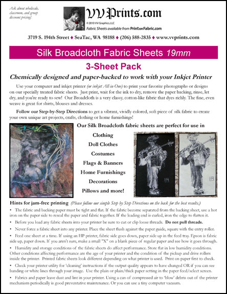 [Silk Broadcloth Inkjet Printable Fabric Sheets]